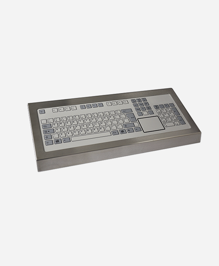 Stainless Steel Industrial Keyboard with Touchpad (128 Key)