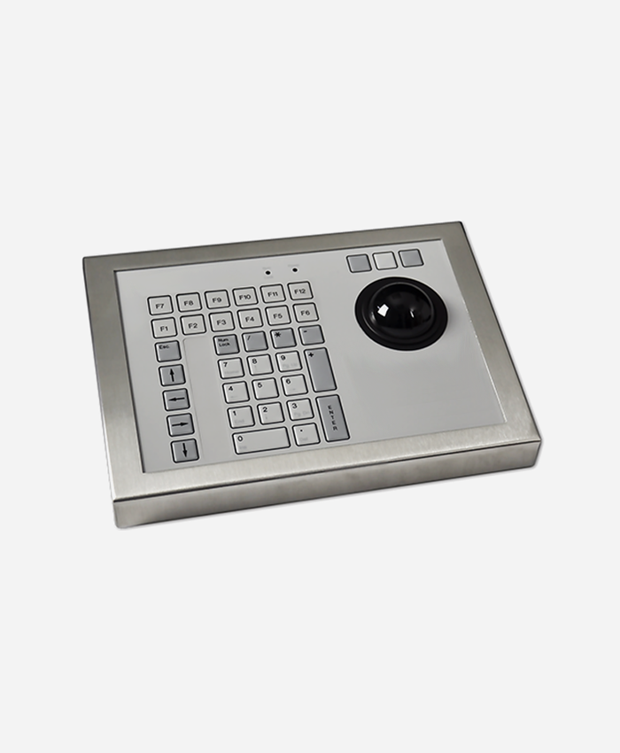 Stainless Steel Industrial Keyboard with Trackerball (42 Key)